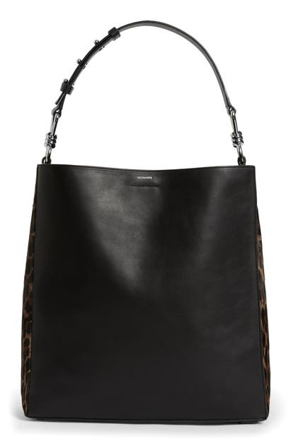 Allsaints Totes KIM NORTH/SOUTH LEATHER TOTE - BLACK