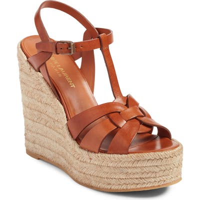 Saint Laurent Tribute Espadrille Wedge, Brown