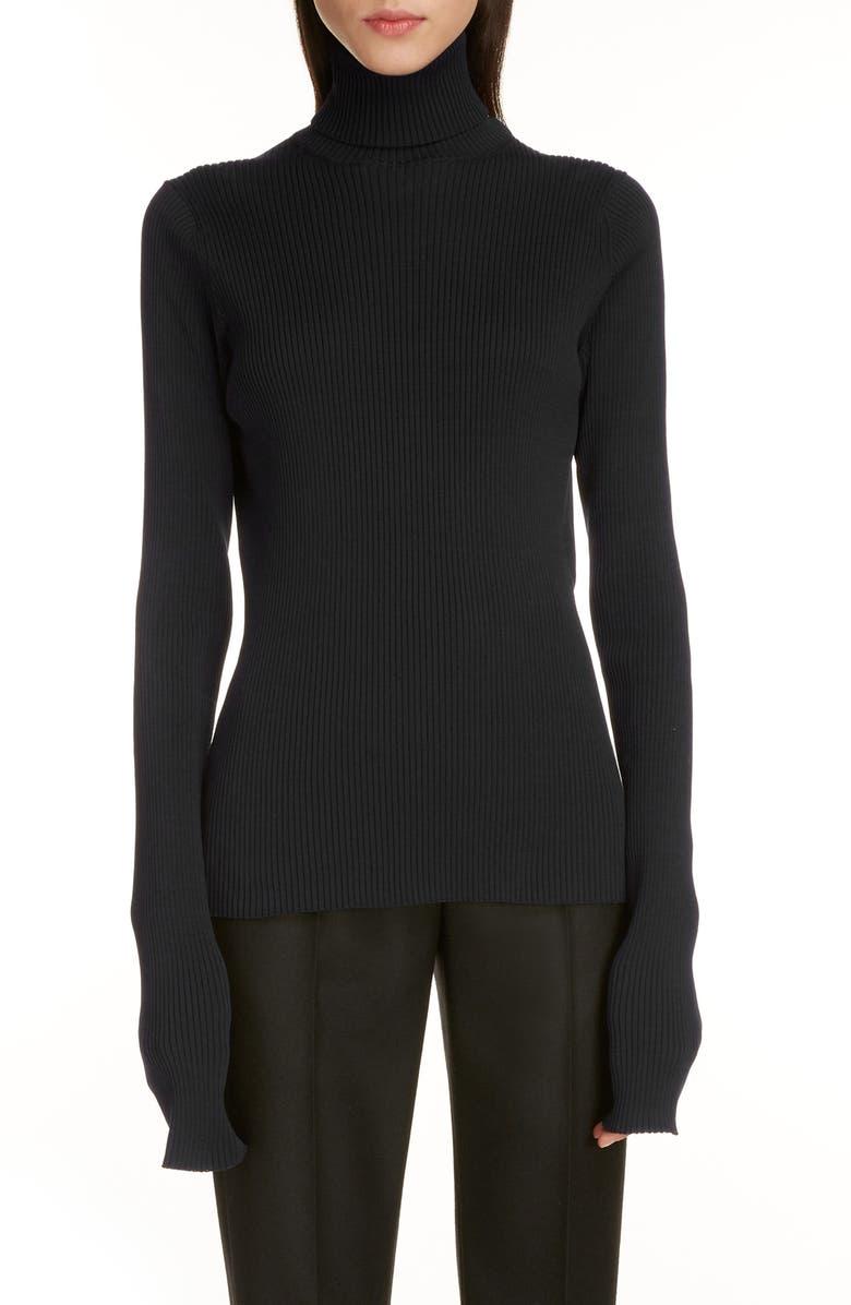 BALENCIAGA Tech Rib Turtleneck Sweater, Main, color, BLACK