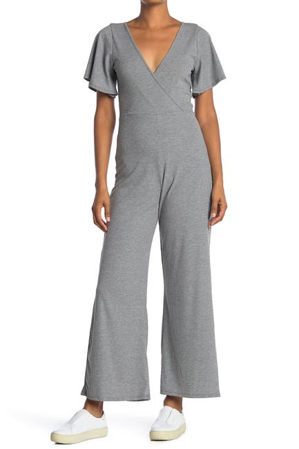 Image of Velvet Torch Wide Leg Flutter Sleeve Jumpsuit