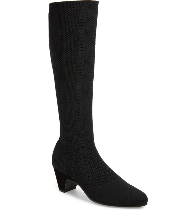 EILEEN FISHER Keto Knee High Boot, Main, color, BLACK FABRIC