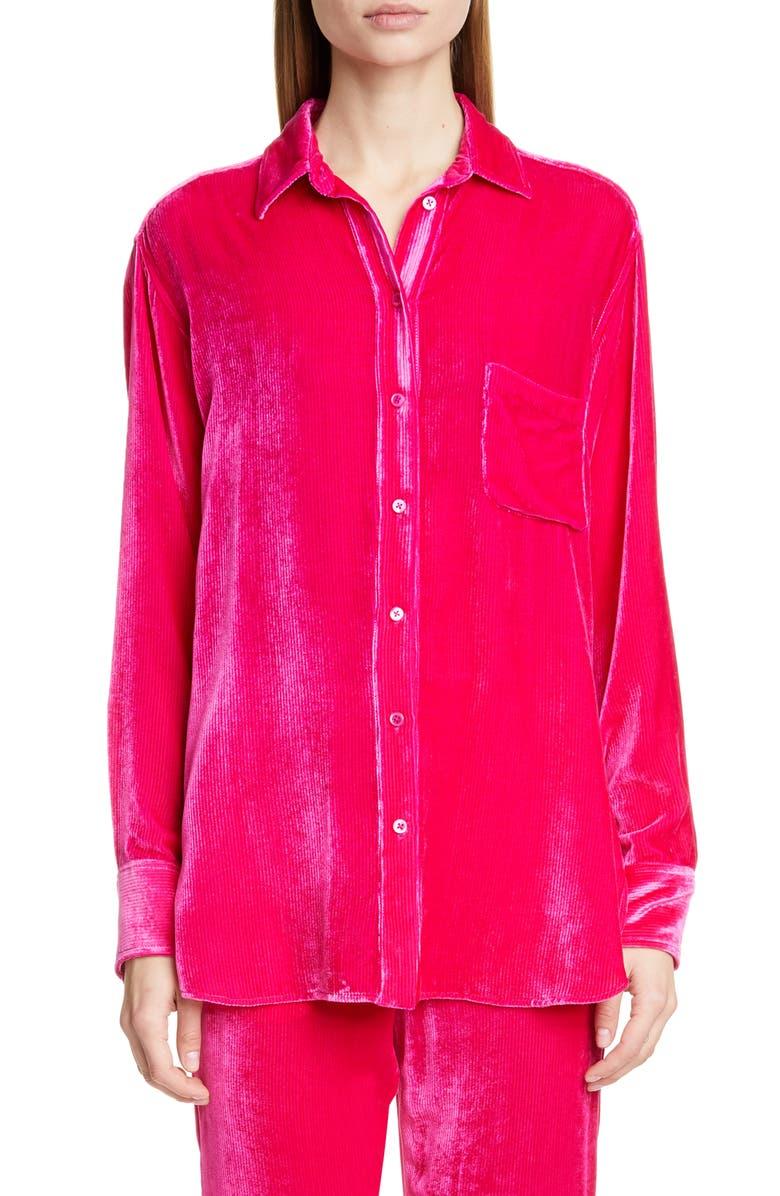 SIES MARJAN Silk Blend Corduroy Shirt, Main, color, FUCHSIA