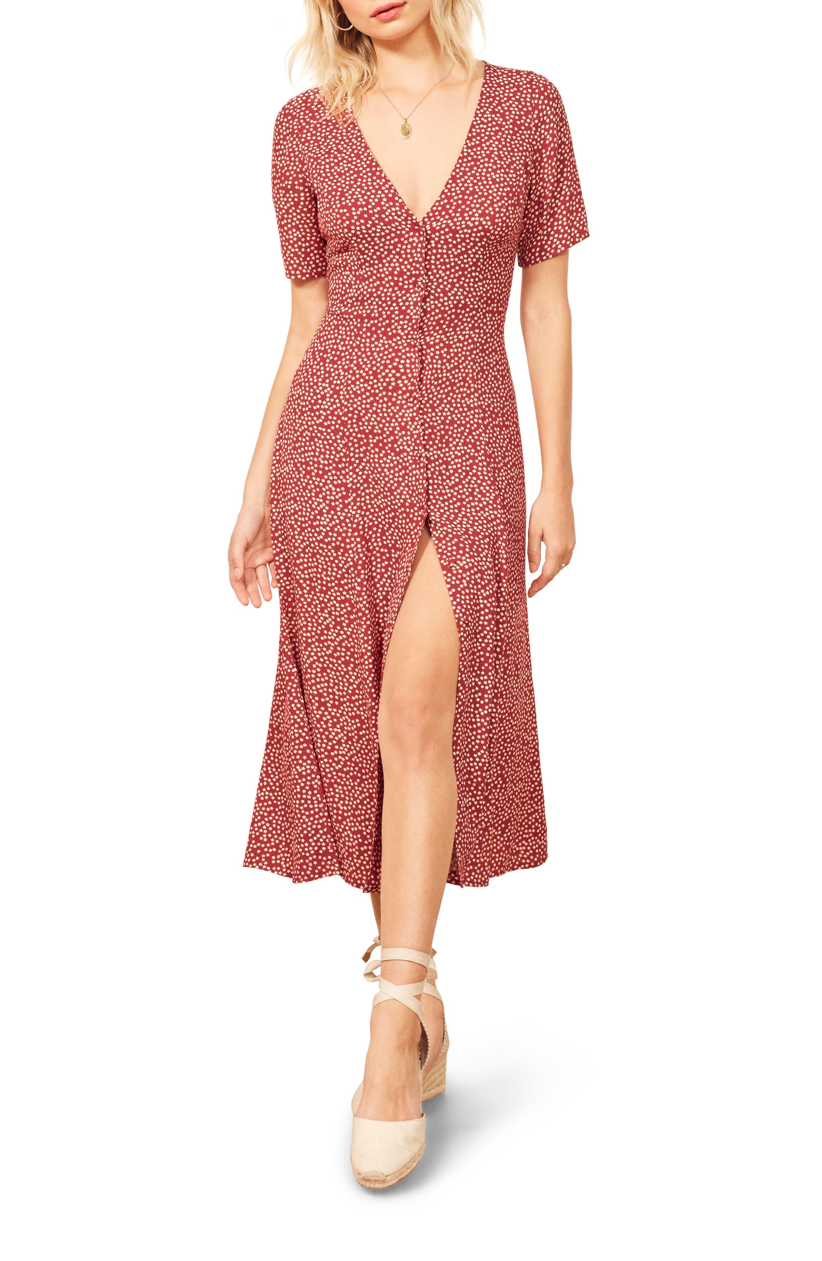 Reformation Locklin Dress, Red