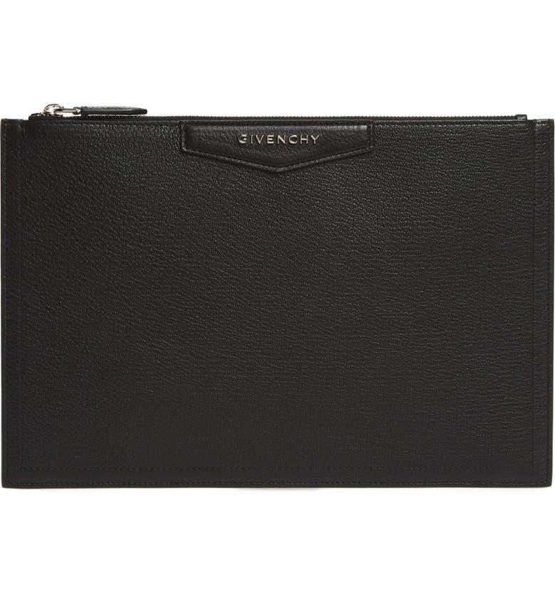 GIVENCHY Medium Antigona Leather Pouch, Main, color, 001 BLACK