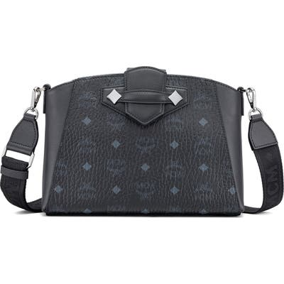 Mcm Small Essential Visetos Coated Canvas Crossbody Bag - Black