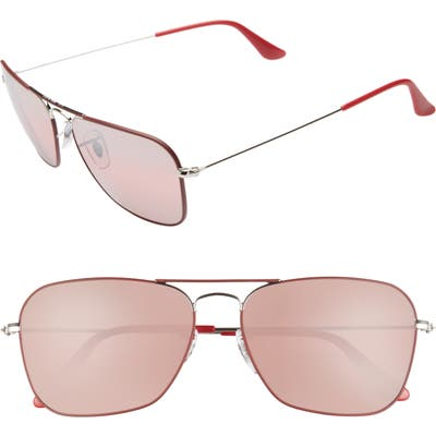 Ray-Ban 5m Polarized Tinted Aviator Sunglasses - Red/ Silver Mirror