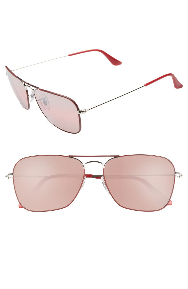 RAY-BAN 58mm Polarized Tinted Aviator Sunglasses, Main, color, RED/ SILVER MIRROR