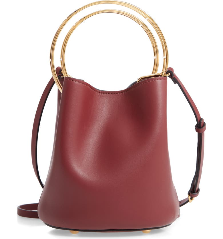 MARNI Ring Handle Leather Bucket Bag, Main, color, RUBY