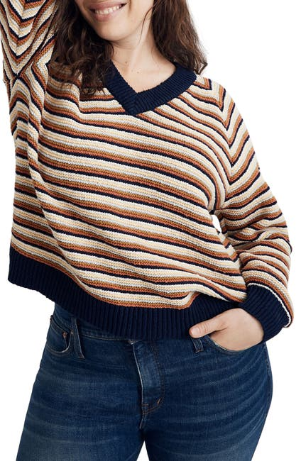 Image of Madewell Arden Striped V-Neck Pullover Sweater