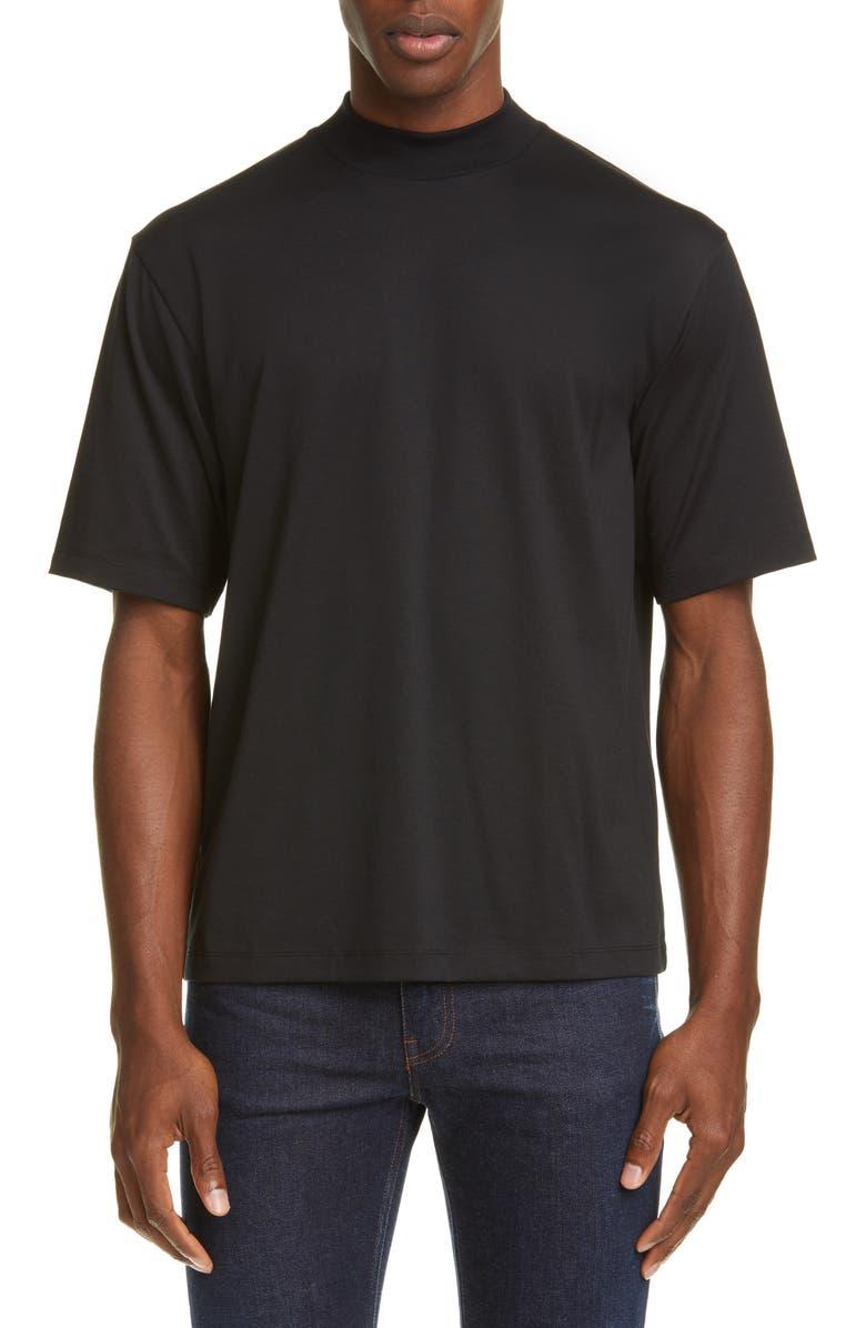 ACNE STUDIOS Eagen Mock Neck T-Shirt, Main, color, BLACK