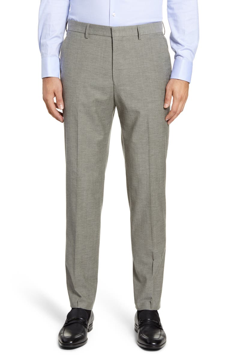 BOSS Pirko Flat Front Solid Wool & Cotton Dress Pants, Main, color, GREY