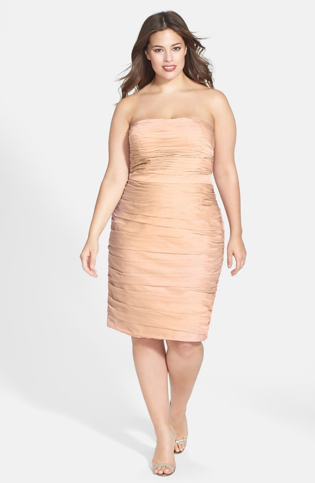 ,                             Ruched Strapless Cationic Chiffon Dress,                             Alternate thumbnail 26, color,                             289