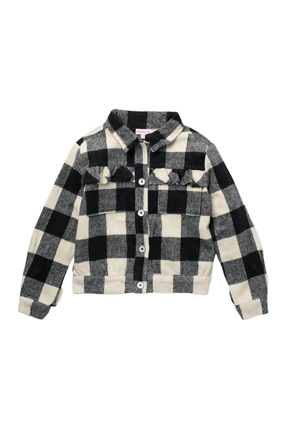 Image of Design History Plaid Print Long Sleeve Jacket