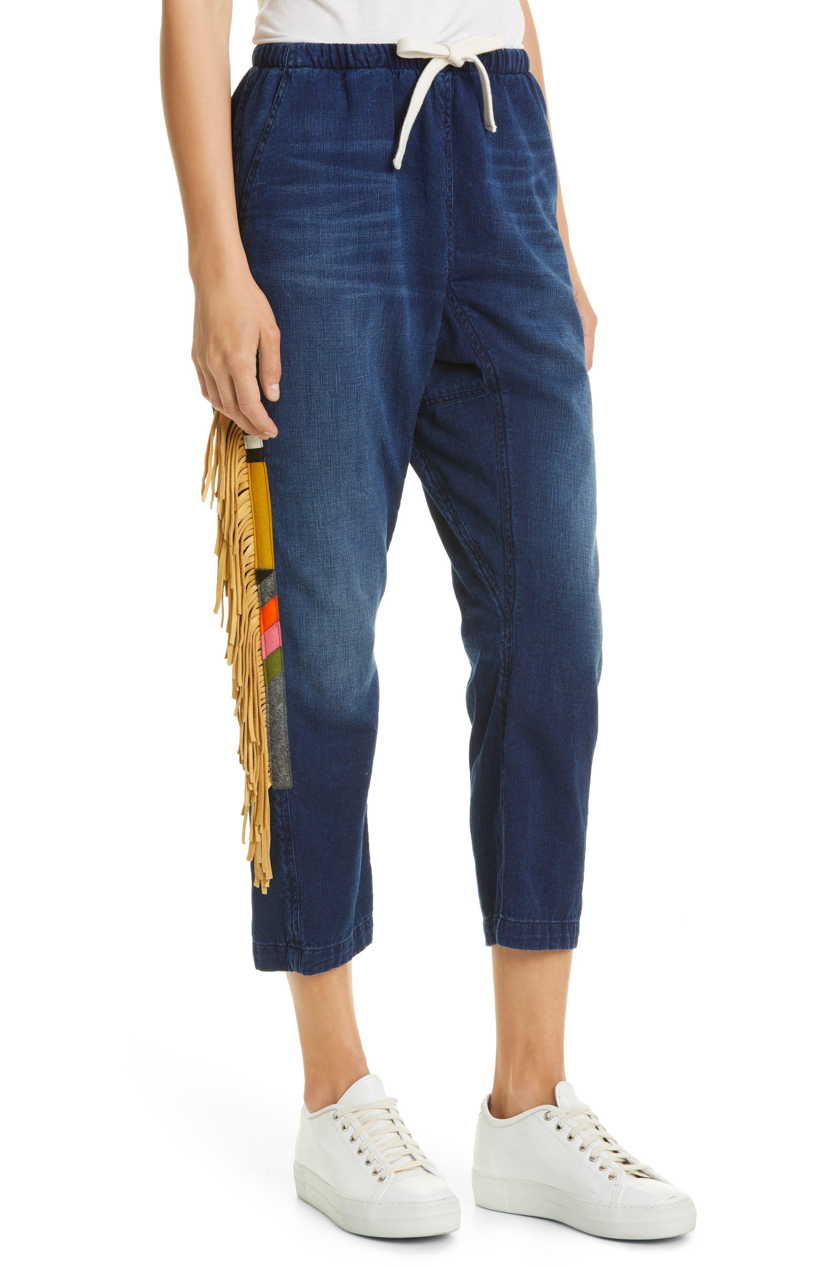 Abiquiu Side Fringe Cotton Drawstring Pants