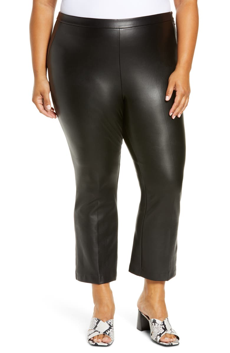 HALOGEN<SUP>®</SUP> Crop Straight Leg Faux Leather Pants, Main, color, 001