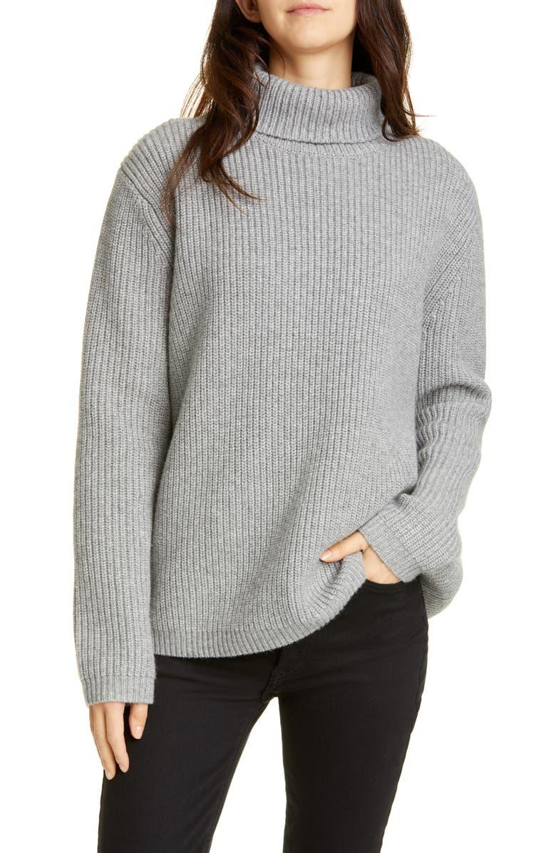 JENNI KAYNE Ribbed Cashmere Turtleneck Sweater, Main, color, HEATHER GREY