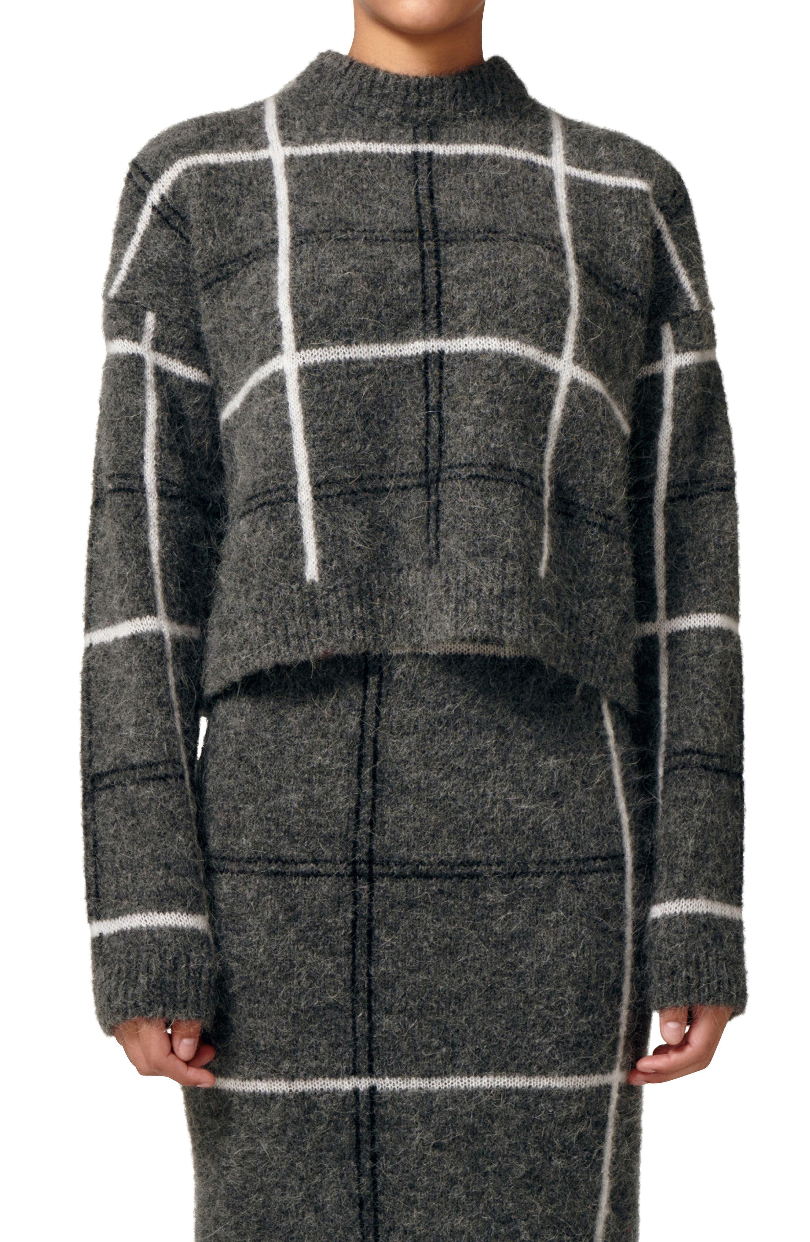 Nurture Manchester Plaid Funnel Neck Alpaca Blend Sweater