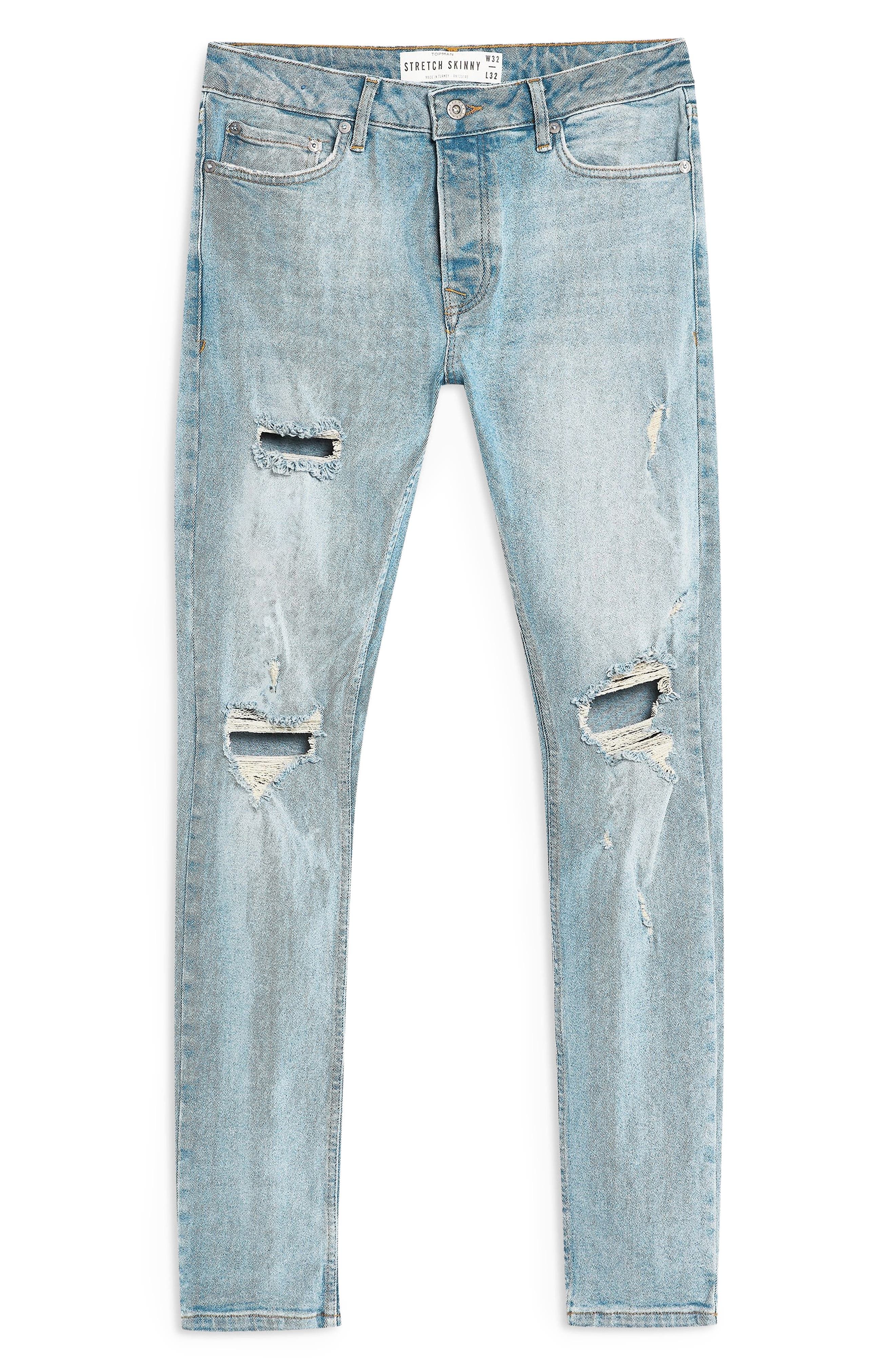 ,                             Ripped Stretch Skinny Fit Jeans,                             Alternate thumbnail 5, color,                             BLUE