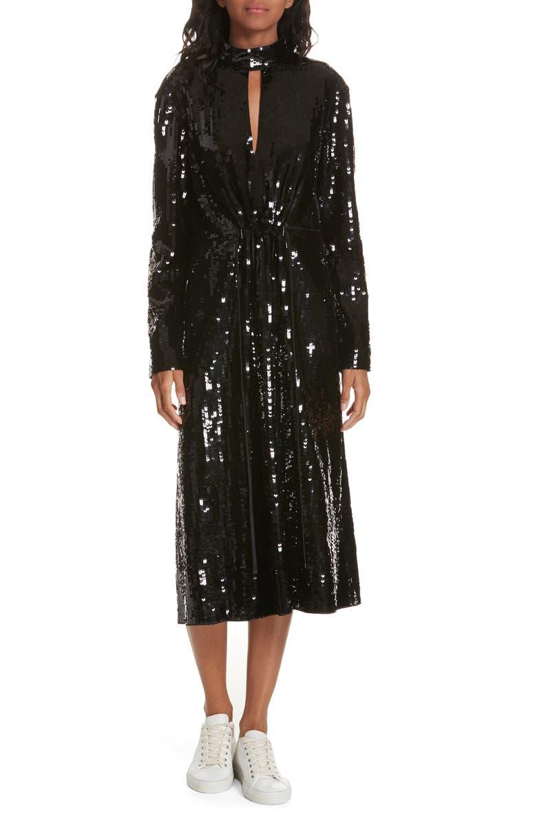 TIBI Avril Sequin Midi Dress, Main, color, 007