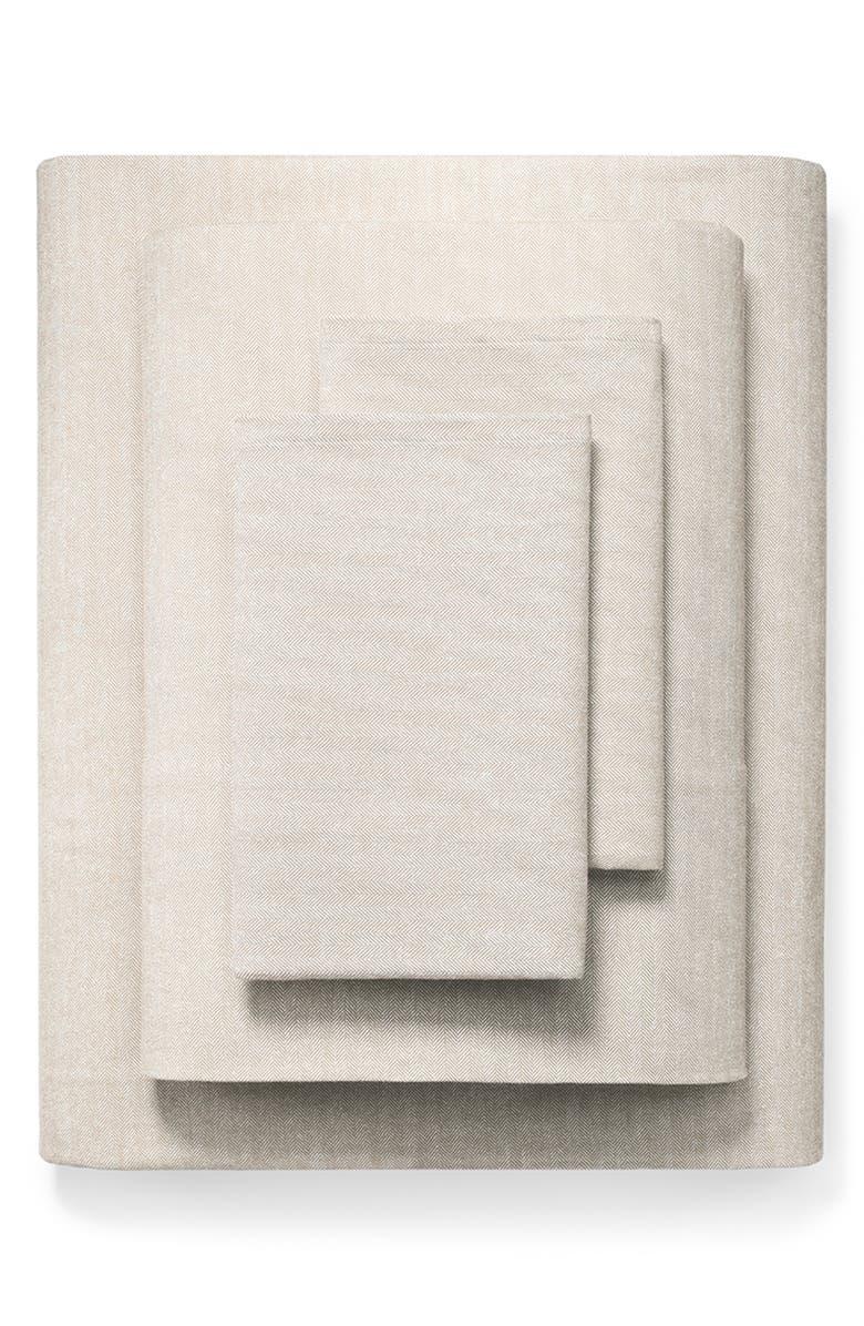 BOLL & BRANCH Organic Cotton Flannel Sheet Set, Main, color, DUNE HERRINGBONE