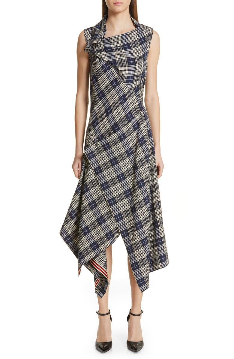 MONSE Plaid Asymmetrical Midi Dress, Main, color, NAVY PLAID