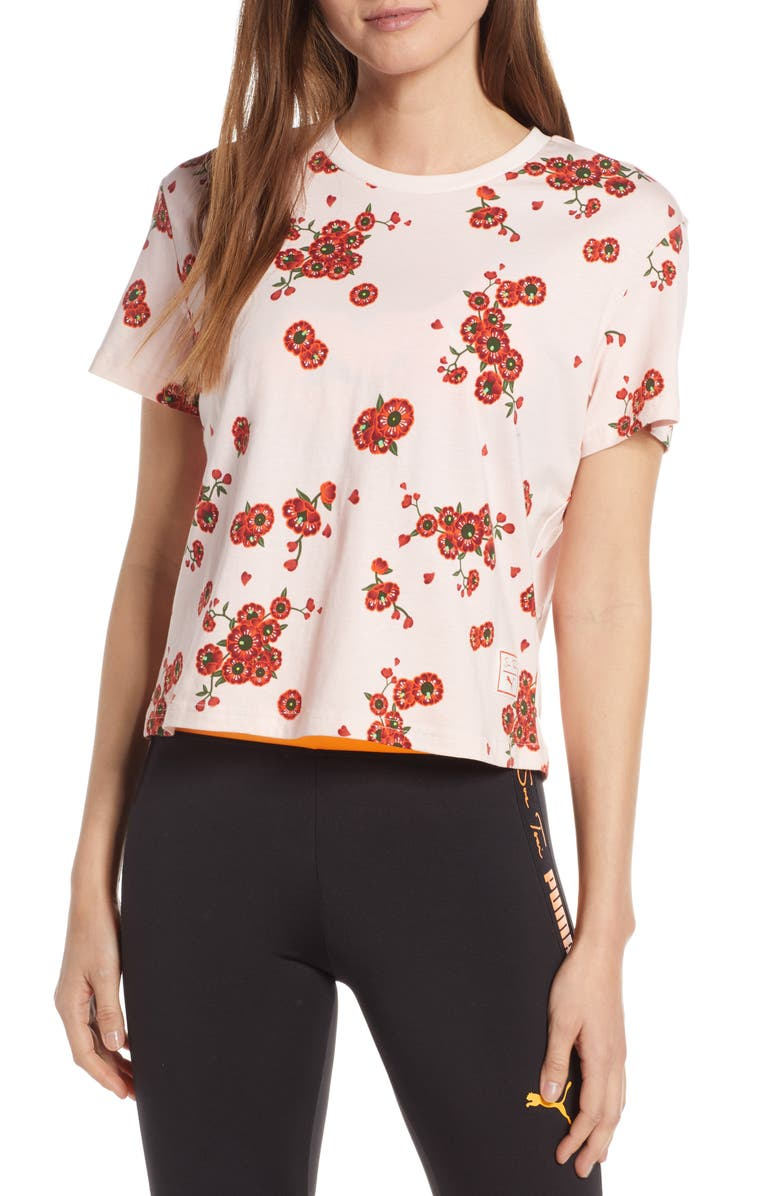 PUMA x Sue Tsai Crop Floral Tee, Main, color, 690