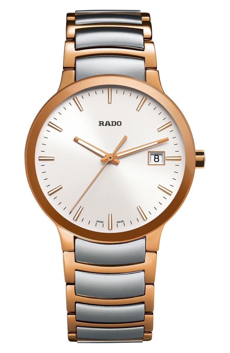 RADO Centrix Bracelet Watch, 38mm, Main, color, SILVER/ ROSE GOLD