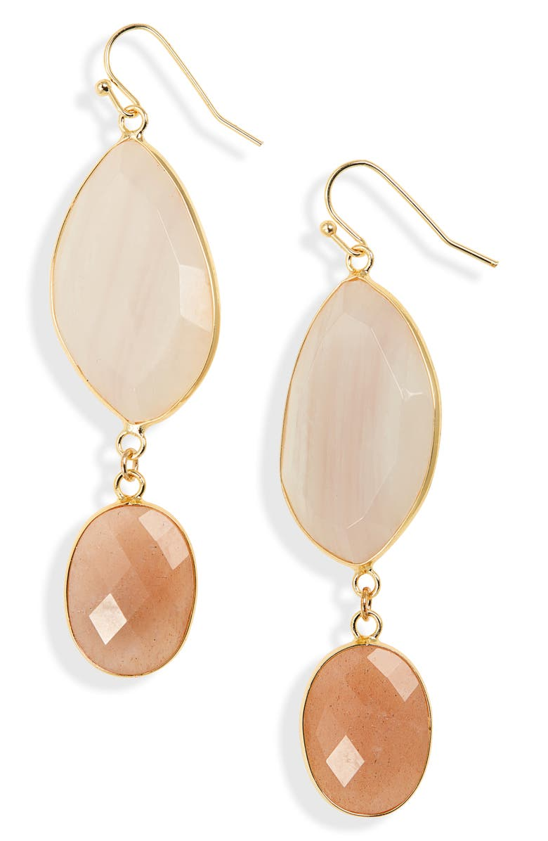 PANACEA Stone Drop Earrings, Main, color, PEACH