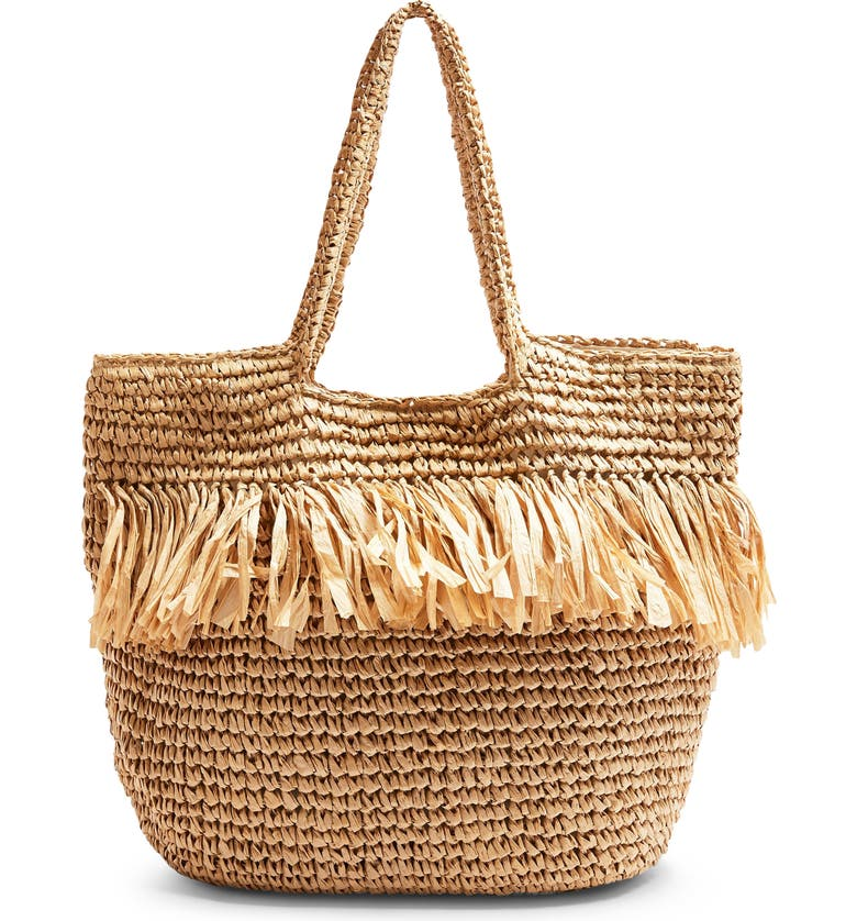 TOPSHOP Fenn Fringe Straw Tote, Main, color, NUDE