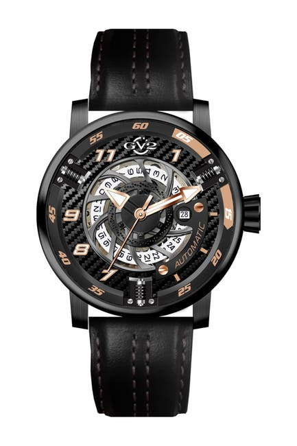 Image of Gevril Men's Motorcycle Calfskin Leather Strap Watch, 48mm
