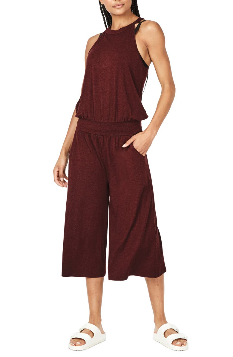 SWEATY BETTY Serenity Culotte Jumpsuit, Main, color, BLACK CHERRY