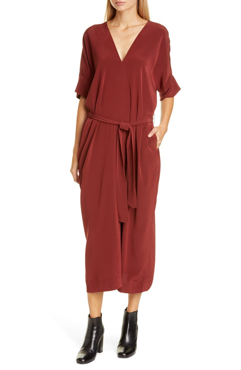 CO Belted V-Neck Caftan Dress, Main, color, BORDEAUX