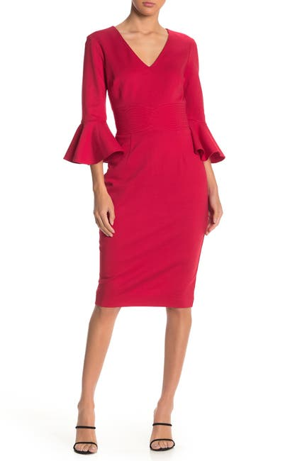 Image of Trina Turk Begonia Bell Sleeve V-Neck Dress