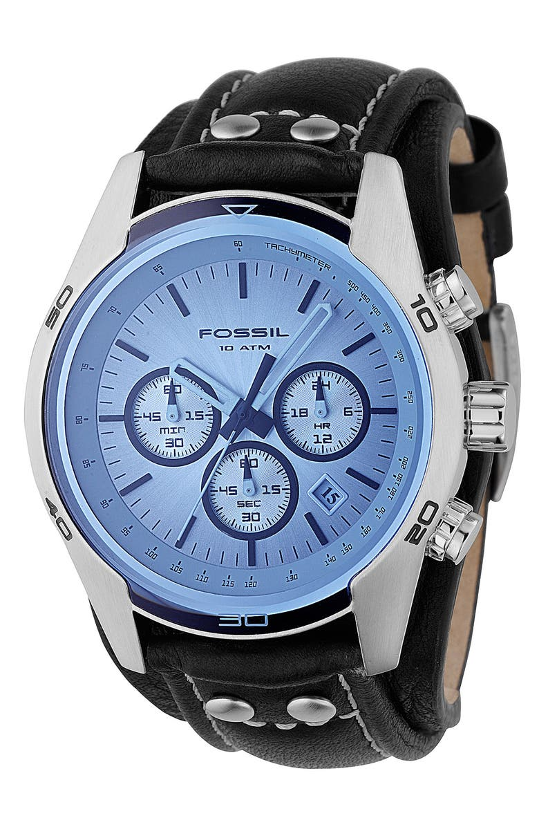 FOSSIL Chronograph Cuff Watch, Main, color, BLUE