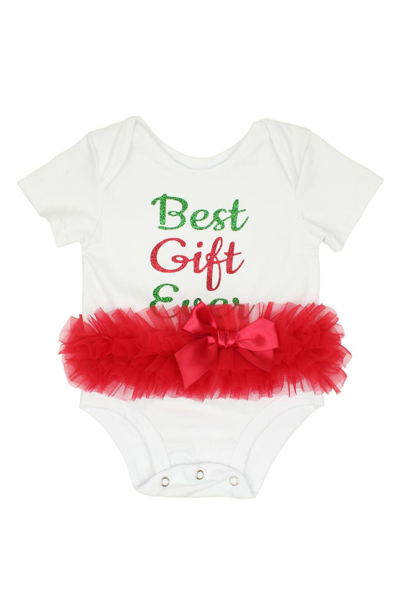 POPATU Best Gift Ever Skirted Bodysuit, Main, color, WHITE/ RED
