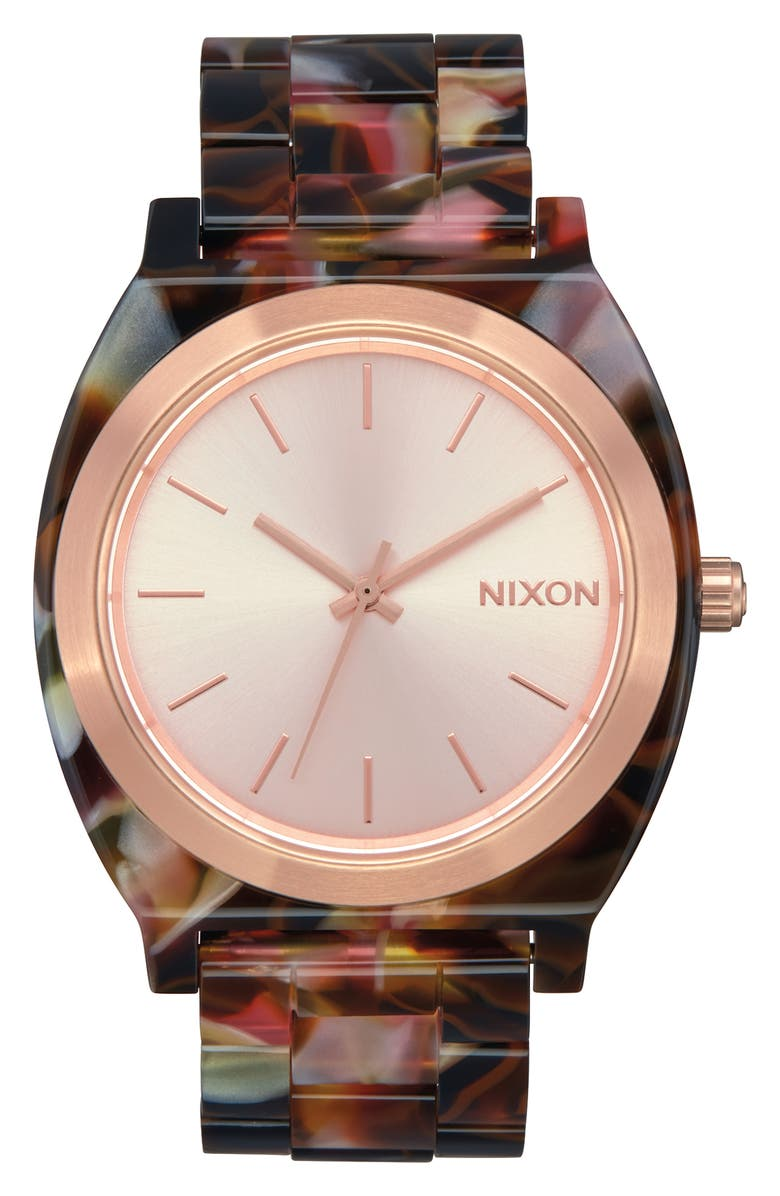 NIXON Time Teller Acetate Bracelet Watch, 40mm, Main, color, PINK TORTOISE/ ROSE GOLD