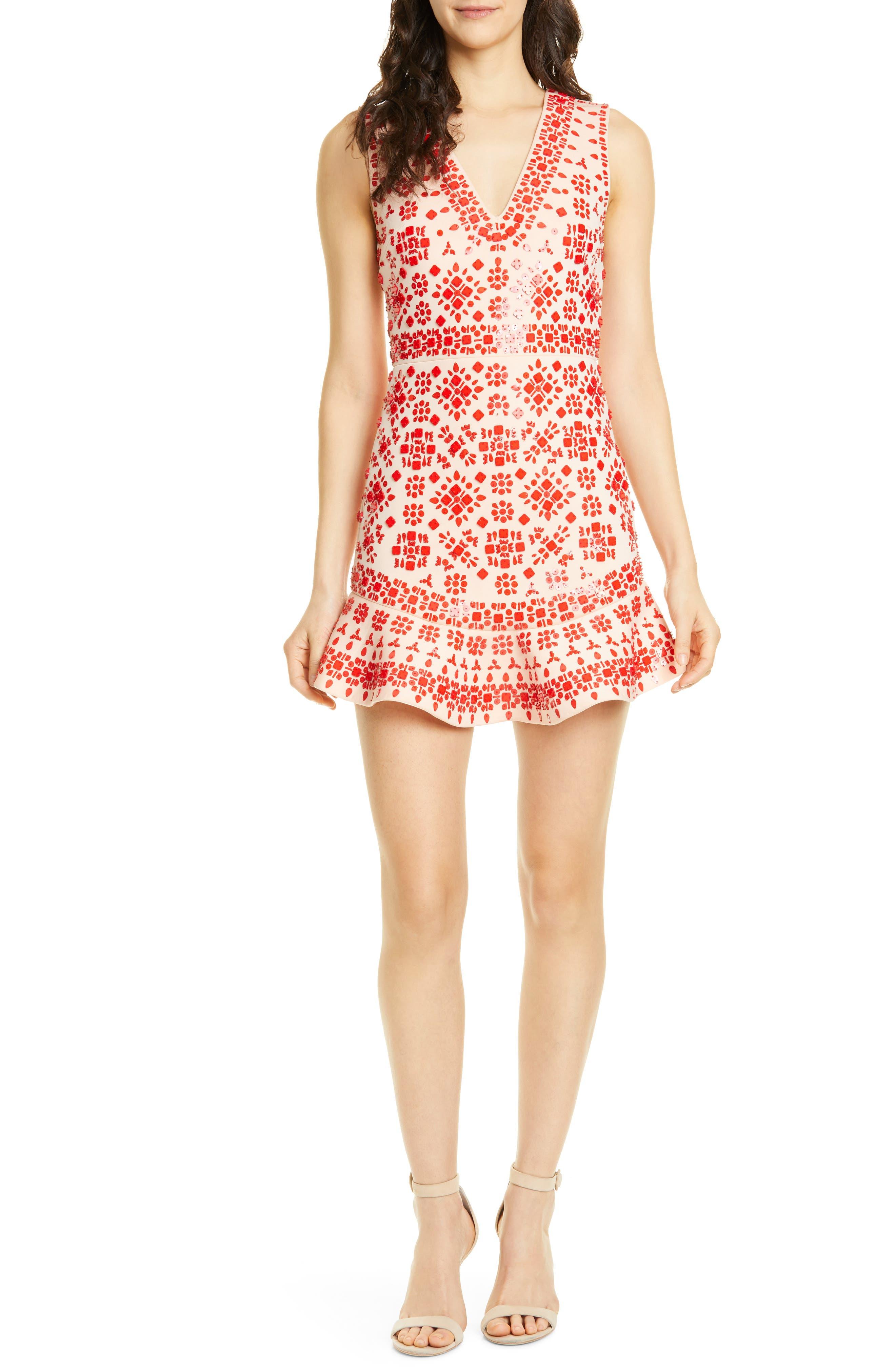 Alice + Olivia Rapunzel Embellished Ruffle Hem Dress, Red
