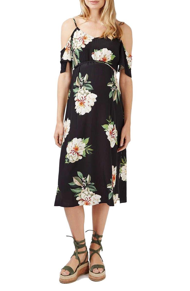 TOPSHOP Cold Shoulder Maternity Midi Dress, Main, color, 001