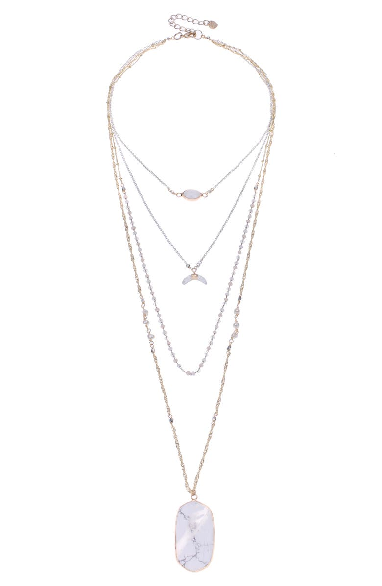 NAKAMOL DESIGN Howlite & Freshwater Pearl Layered Necklace, Main, color, WHITE