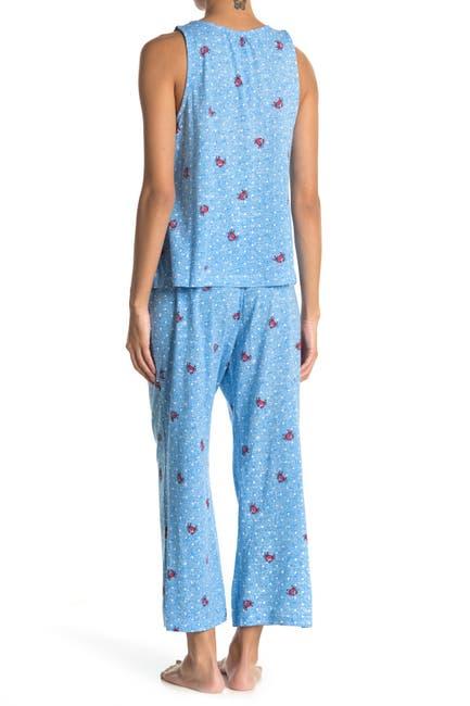 Image of Jane & Bleecker New York Tie Neck Tank & Capri 2-Piece Pajama Set
