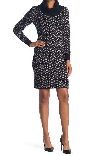 Image of T Tahari Cowl Neck Chevron Print Sweater Dress