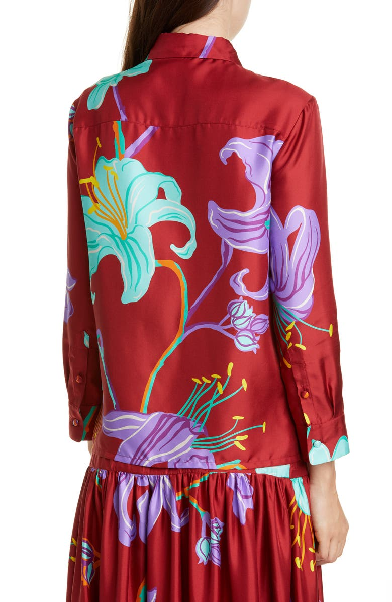 LA DOUBLEJ Boy Floral Print Silk Shirt, Main, color, MANEATER ROSSO