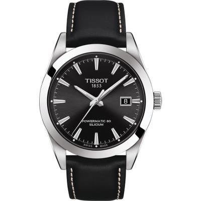 Tissot T-Classic Powermatic 80 Leather Strap Watch, 40Mm