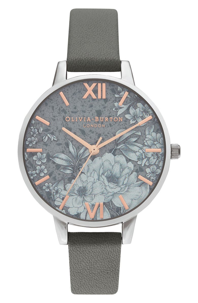 OLIVIA BURTON Terrazzo Florals Faux Leather Strap Watch, 38mm, Main, color, GREY/ FLORAL/ SILVER
