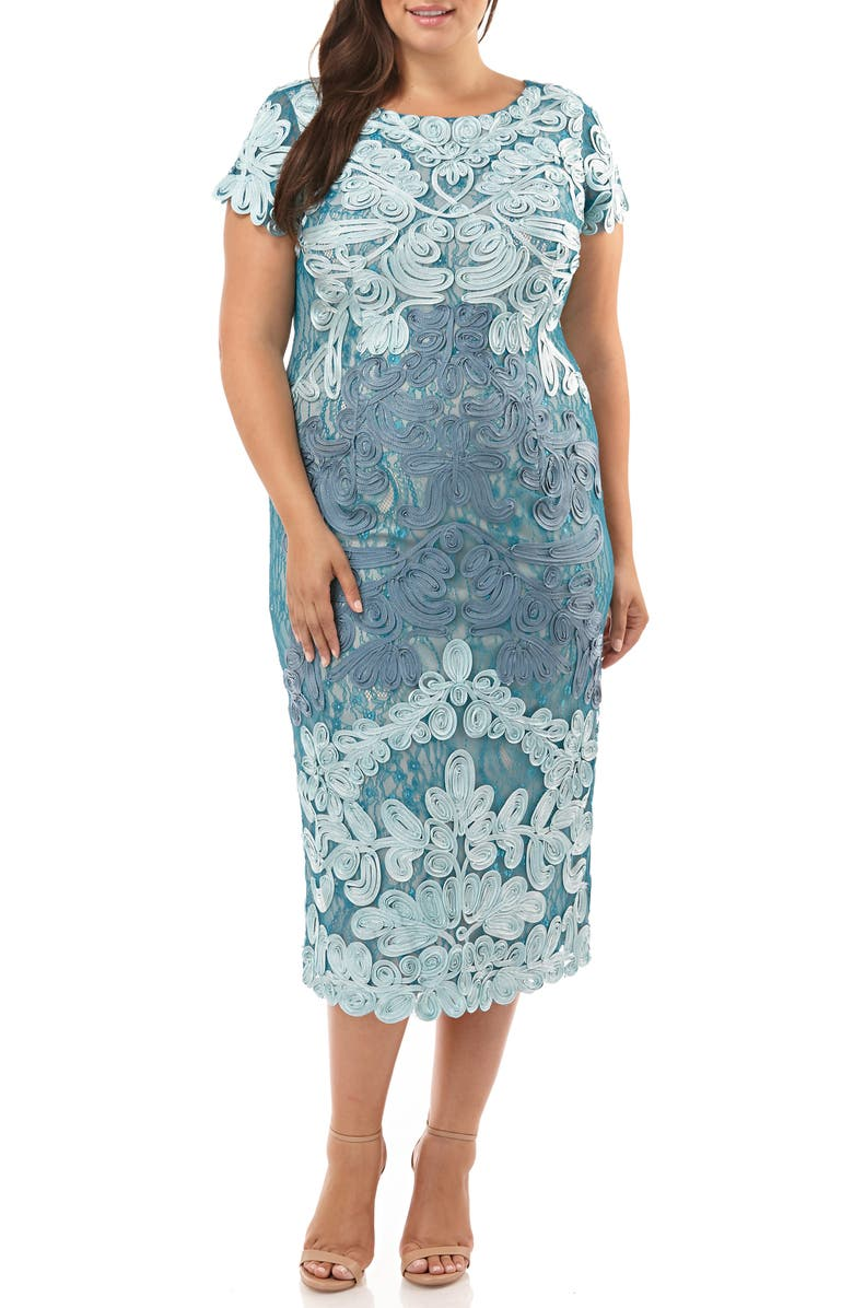 JS COLLECTIONS Two Tone Soutache Embroidered Midi Dress, Main, color, AZURE GREY