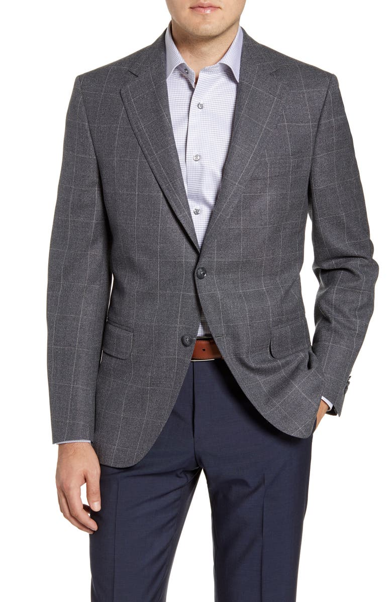 PETER MILLAR Hyperlight Classic Fit Windowpane Wool Sport Coat, Main, color, 020