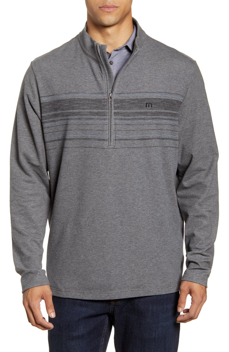 TRAVISMATHEW Transitions Stripe Half Zip Pullover, Main, color, HEATHER DARK SHADOW