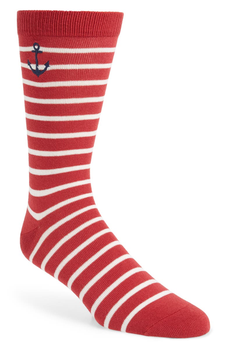 1901 Embroidered Anchor Stripe Socks, Main, color, RED/ WHITE