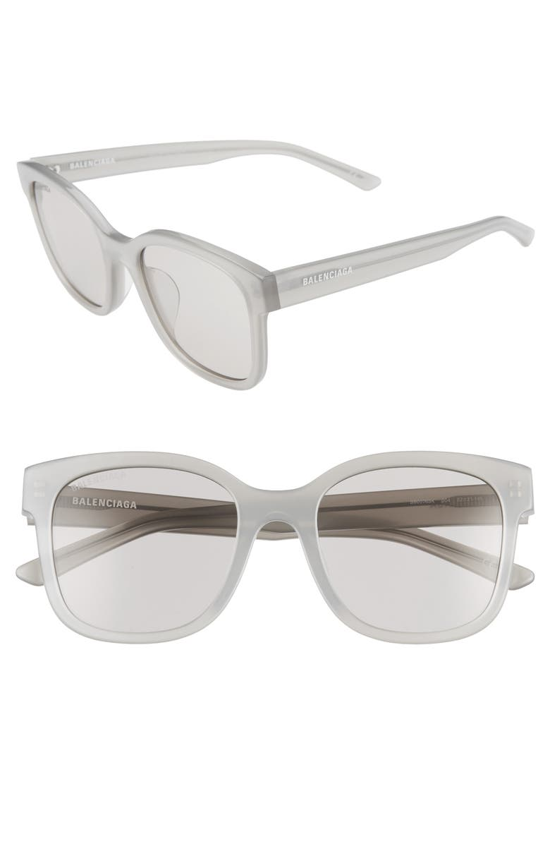 BALENCIAGA 52mm Square Sunglasses, Main, color, GREY/ GREY
