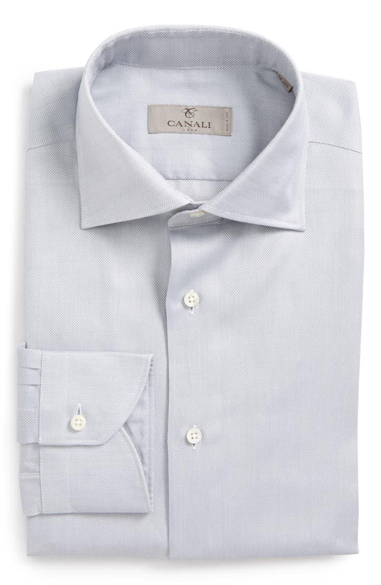 CANALI Trim Fit Solid Dress Shirt, Main, color, 020